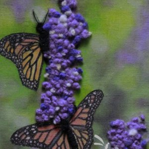 2 Monarch Butterflies mixed media